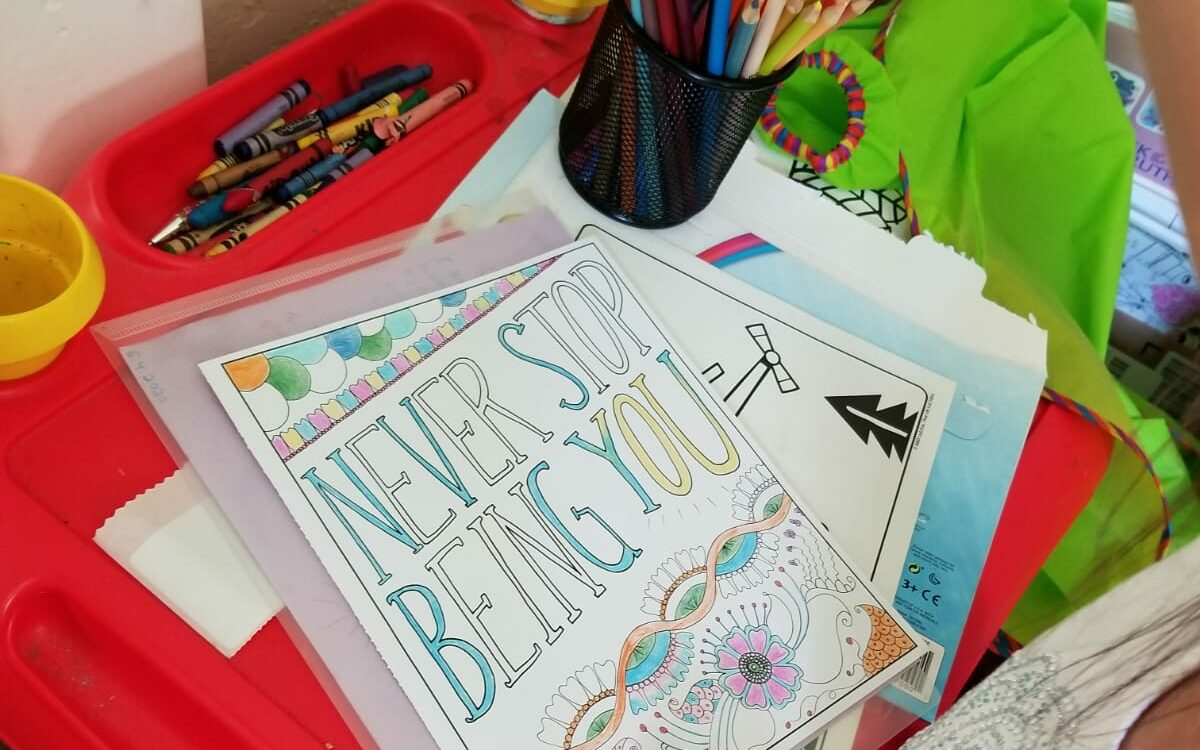 """Picture """"never stop being you"""" coloring book page"""